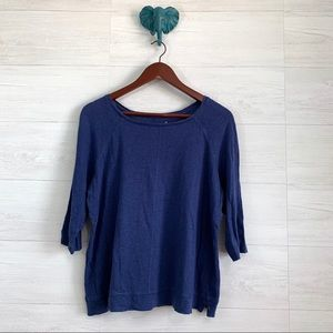 Boden 100% Linen Blue Wide Neck 1/2 Slv Top